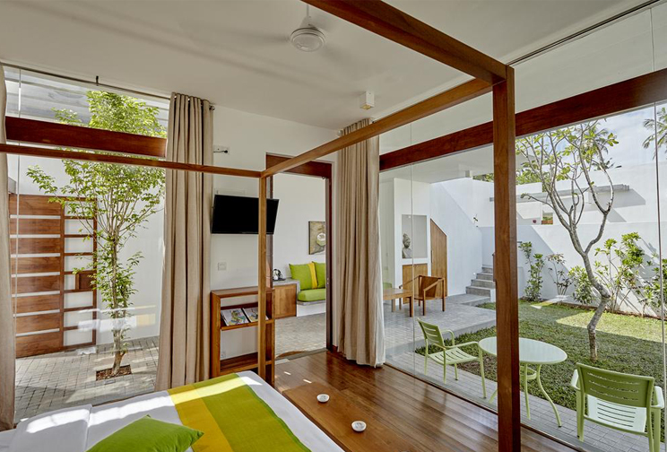 modern accommodation with wood floors