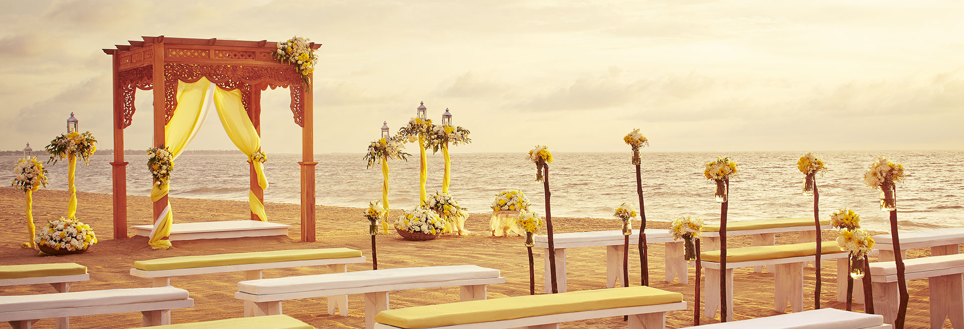 Beach wedding with a traditional poruwa