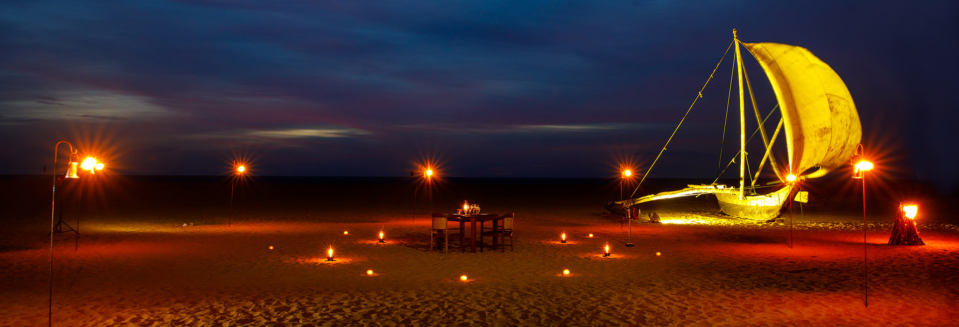 Romantic private dinner on the beach
