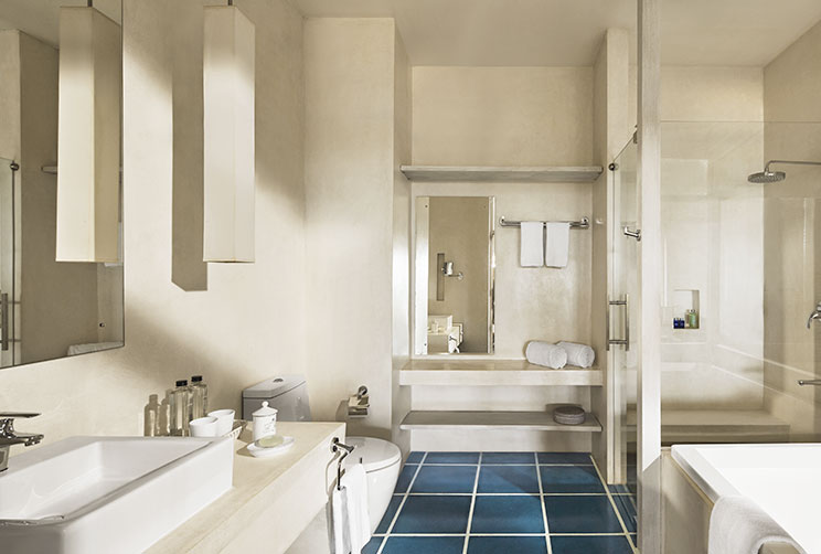 Clean white bathroom for the super deluxe room