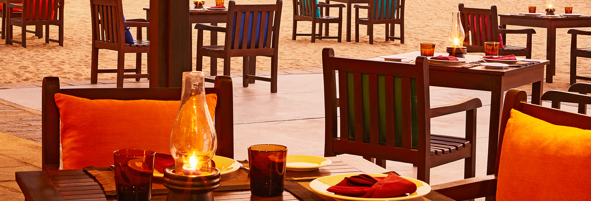 Outdoor dining on the beach of Negombo