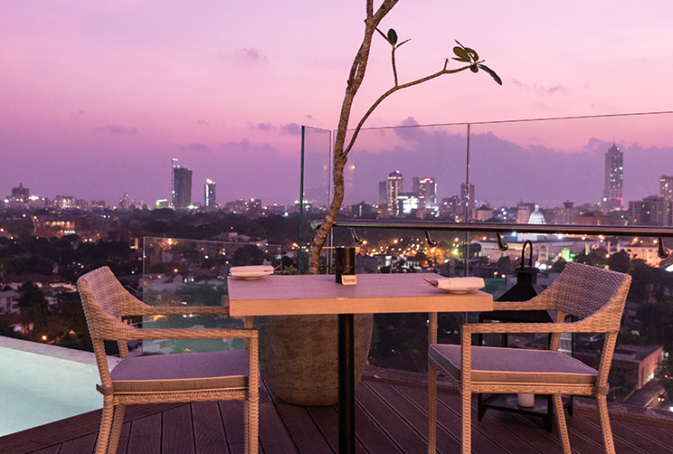 outdoor dining with city view
