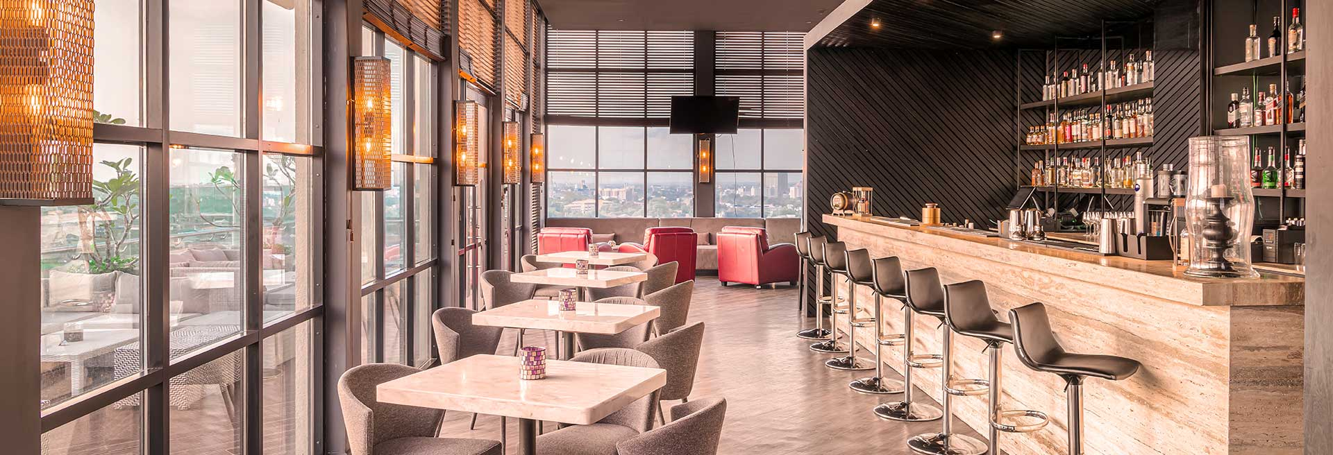 indoor dining with a view of the city
