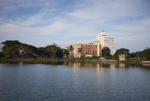 view of the hotel from the lake