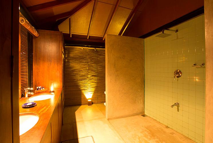 modern bathroom with lights