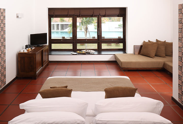 Comfortable Double Bedroom With Pool View