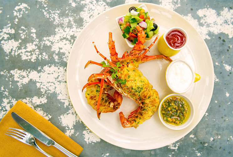 Succulent Lobster Served with a side of Salad and sauces