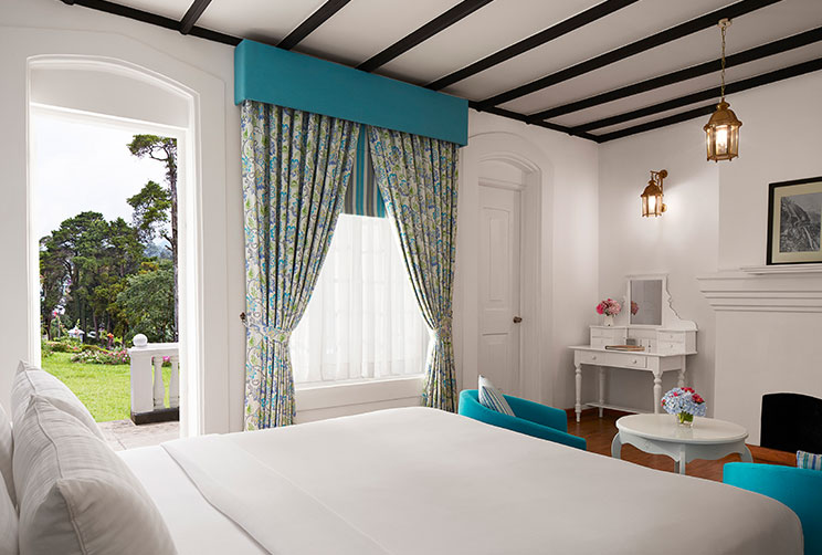 Colonial blue themed superior room