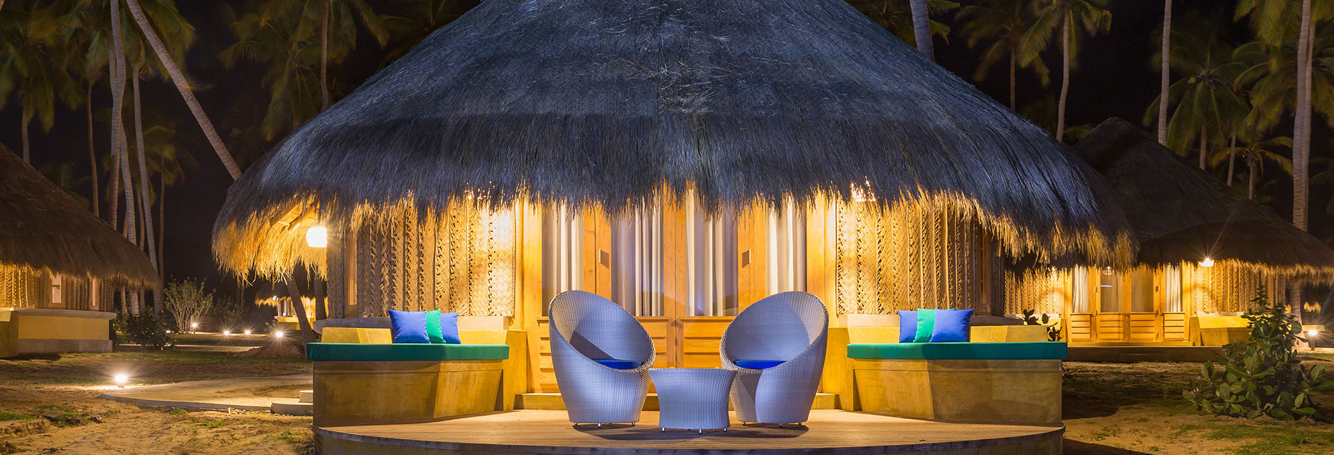 Night time view of the cabana