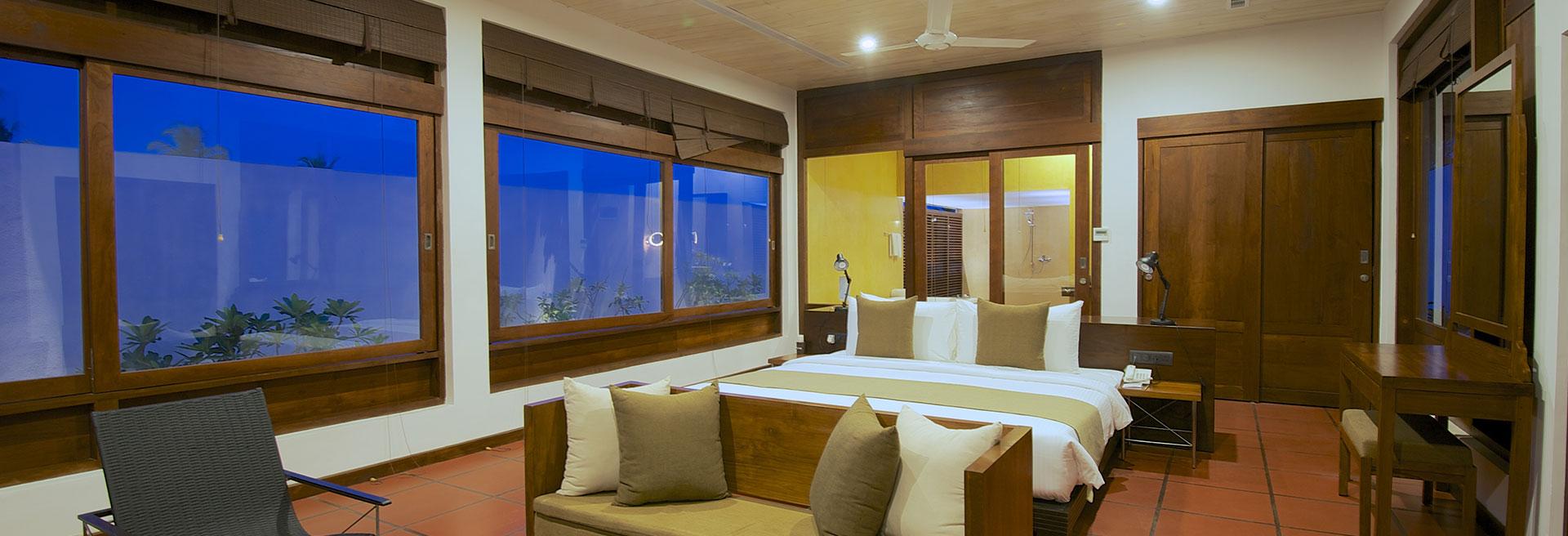 Luxury bedroom with windows all round