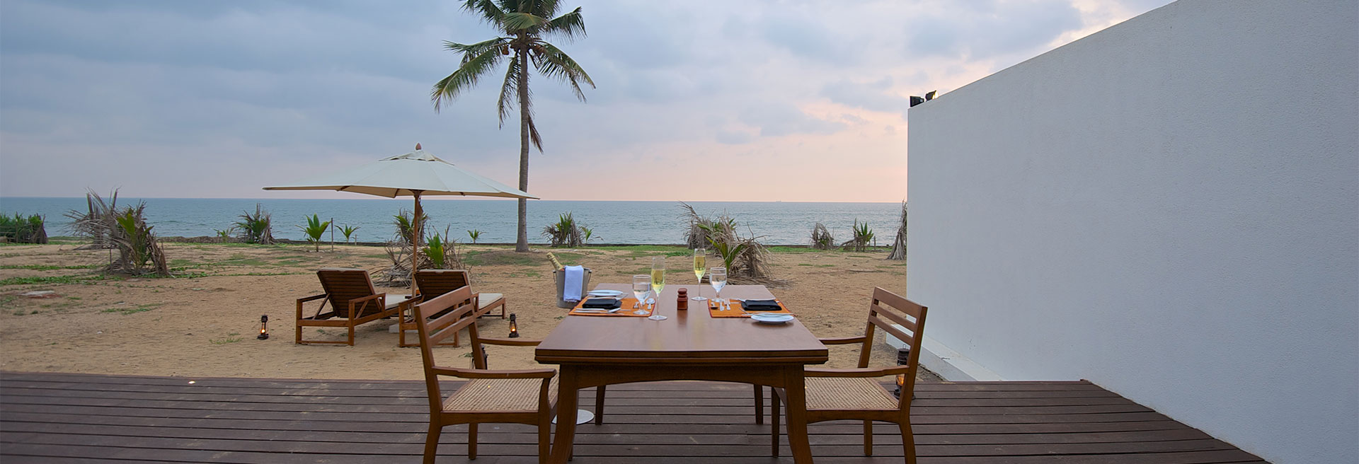 romantic outdoor dining with a beach view
