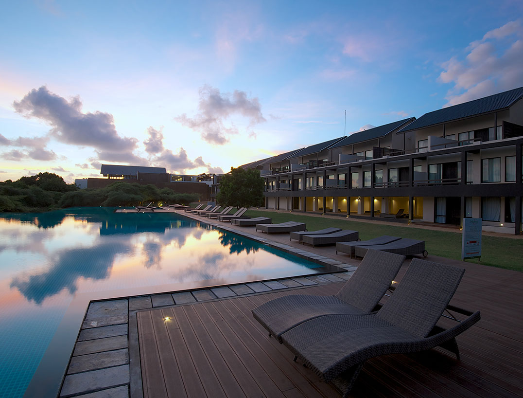 Outside view of the pool during sunset