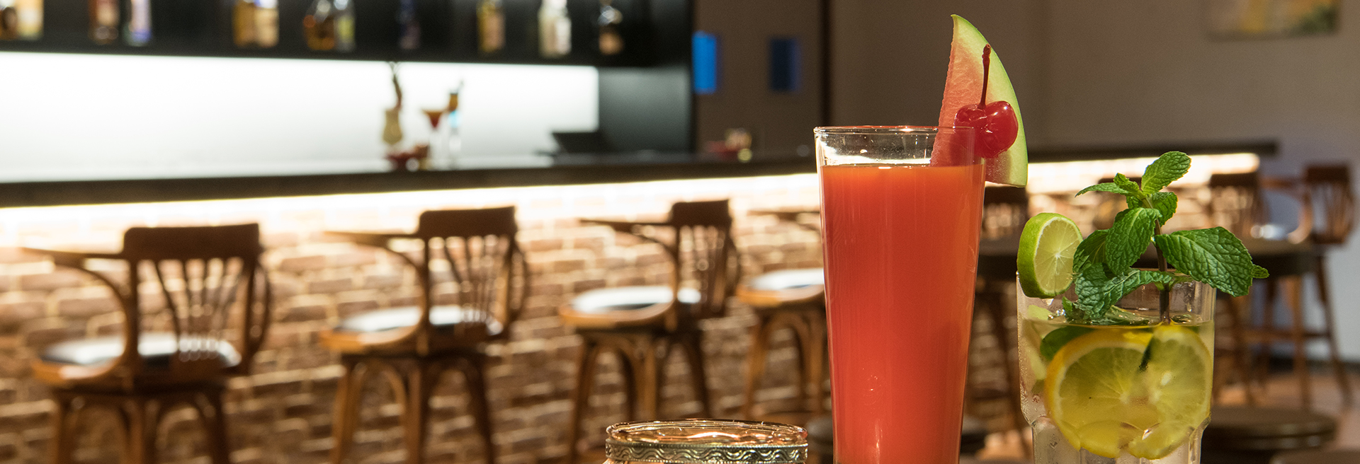 image of Freshly made watermelon juice with a view of the bar