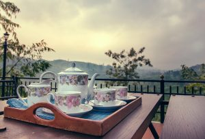 Floral tea set on elevated dining area