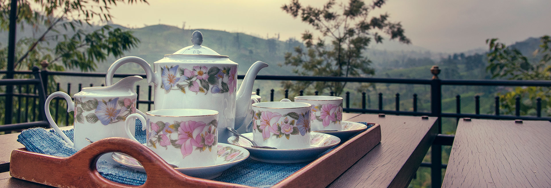 Close up image of a floral tea set at Jetwing Strathdon