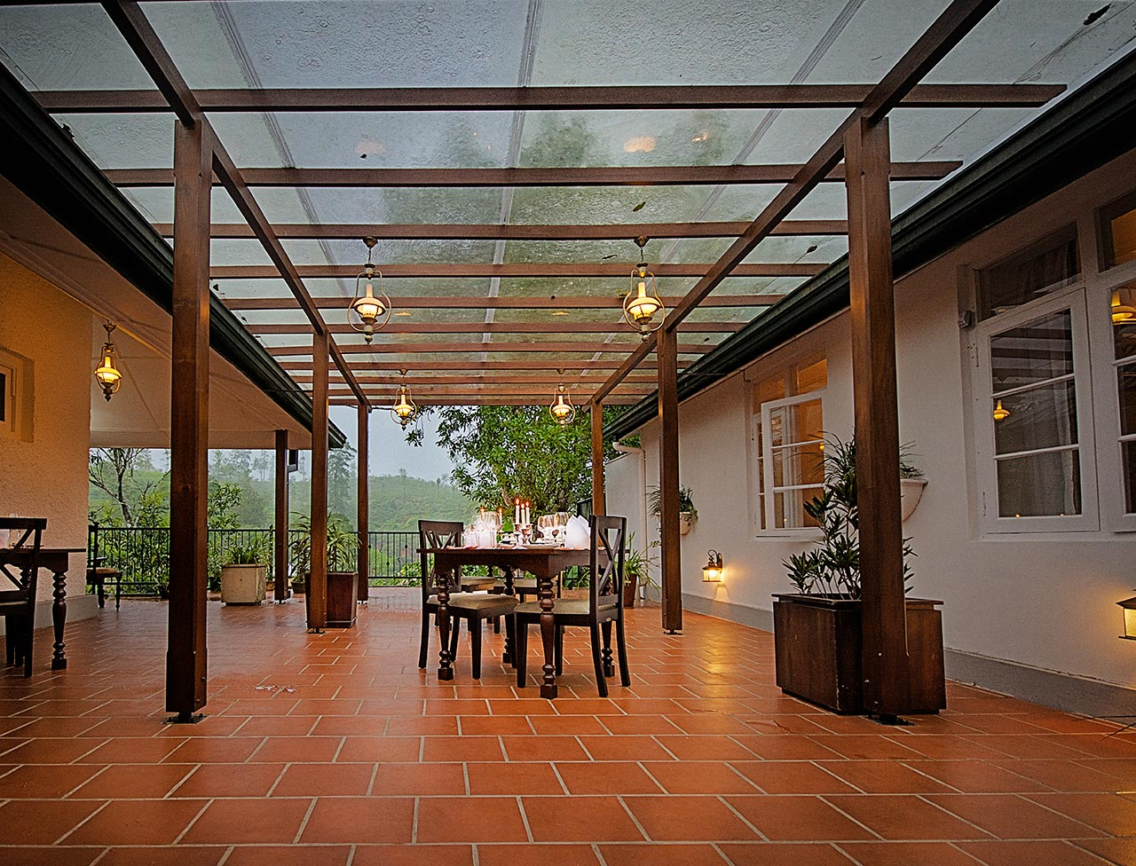 Indoor dining area with translucent roofing
