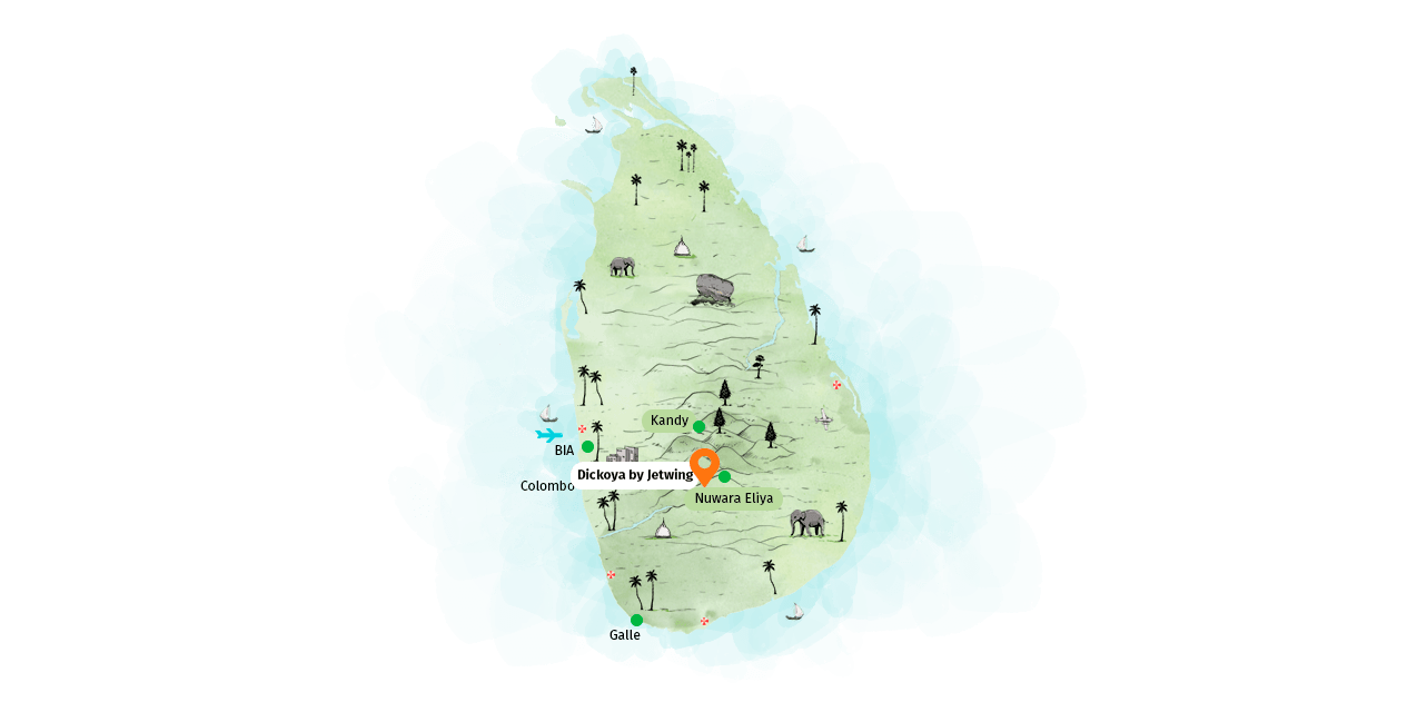 Location map of Dickoya by Jetwing