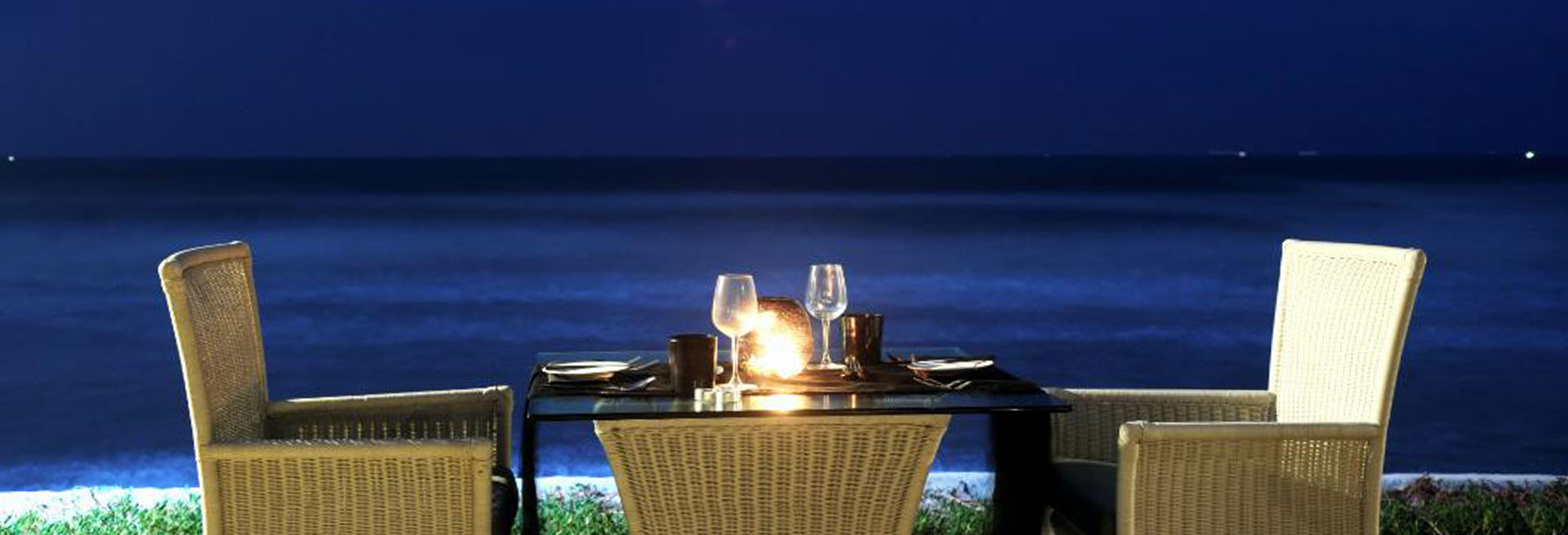 Candle lit dinner by the beach
