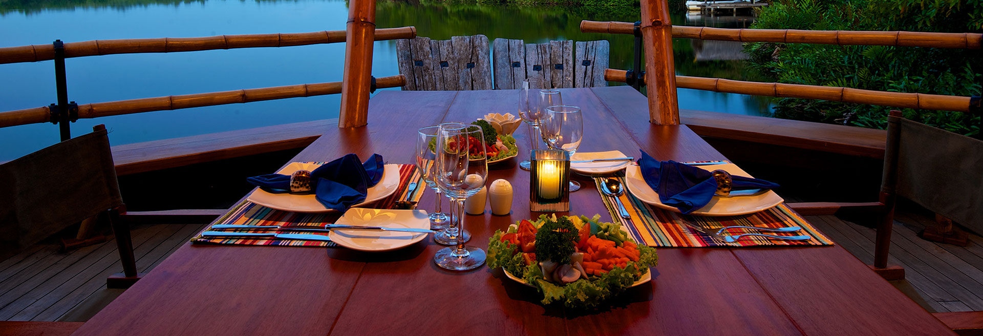 candle lit dinner set up