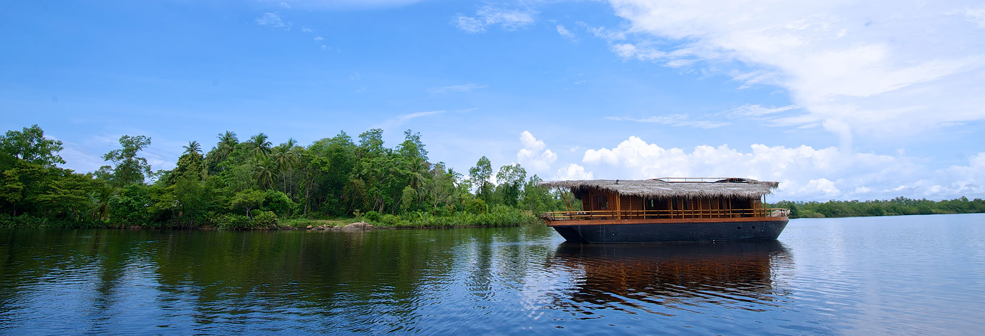 boat house on the river with green forest