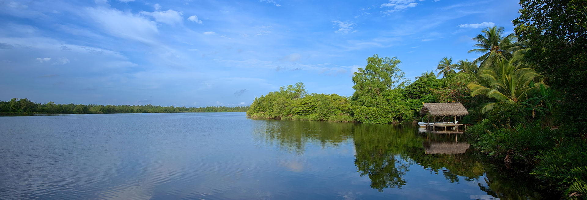 bentota river with clear skies
